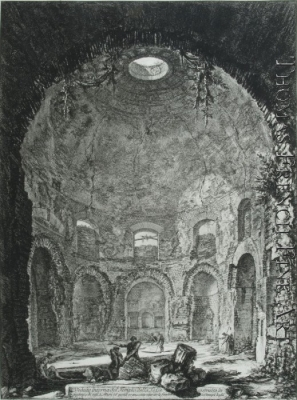 The So-Called Tempio della Tosse, Near Tivoli. Interior Upright  (Veduta interna del Tempio della Tosse)