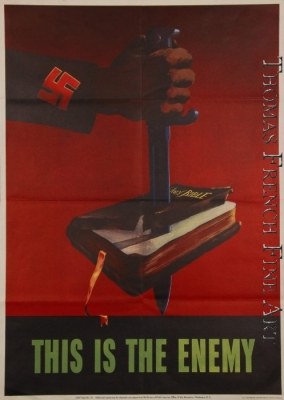 This is the Enemy (Arm with swastika on its sleeve stabs a sword through a book labeled