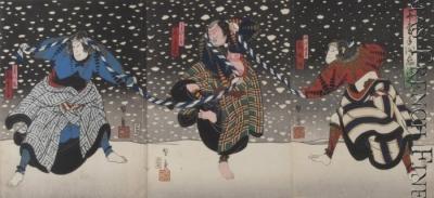 Snowy scene in the kabuki play,